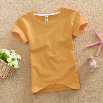 Solid color female Slim fit bottoming shirt New style Top (Yellowish brown color)