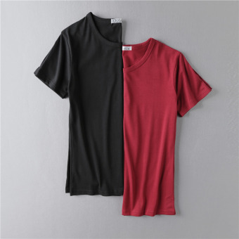 Solid color Summer Student Youth base shirt (Round Neck black + wine red (short sleeved))