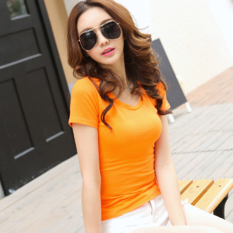 Solid color women Slim fit Short sleeve wild bottoming shirt New style short-sleeved t-shirt (Orange round neck)