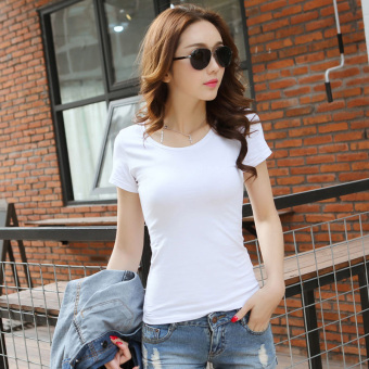 Solid color women Slim fit Short sleeve wild bottoming shirt New style short-sleeved t-shirt (White round neck)
