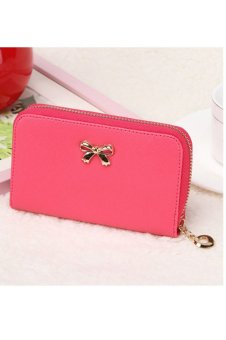 Solid Wearable Short Wallet (Hot Pink)