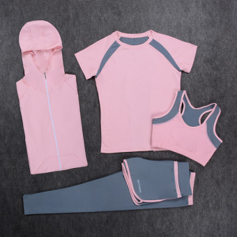 Sports autumn and winter yoga clothes four Professional quick drying clothes (Short sleeved pink suit 4 + hoodie pink)