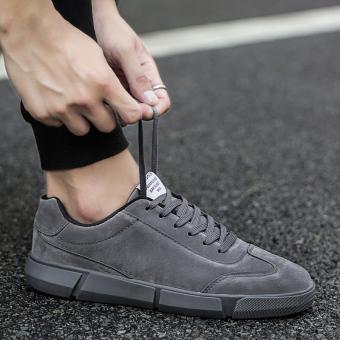 Sports Korean-style black men's student skateboard shoes men's (D85 gray)