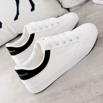 Sports Korean-style female autumn flat shoes white shoes (788 white and black partial half yards)