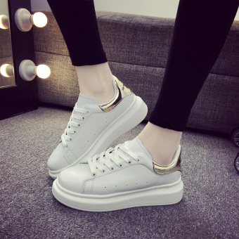 Sports Korean-style female autumn New style lace shoes white shoes (White gold)