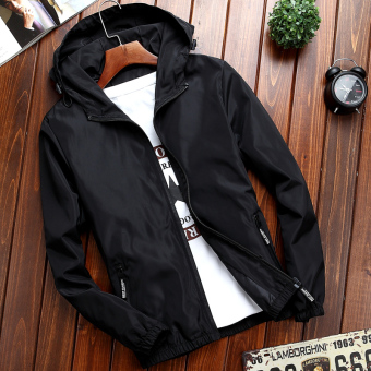 Sports Korean-style men Slim fit Teenager men's jacket autumn jacket (070-black)
