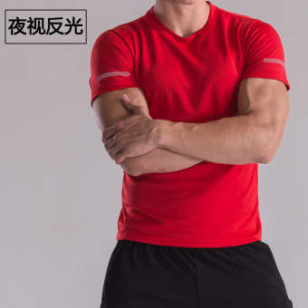 Sports men summer thin quick-drying running clothes T-shirt (Red) (Red)