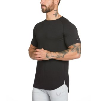 Sports Outdoor Men Basketball running Top fitness clothes (Black) (Black)