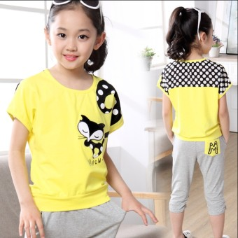 Sports summer short sleeved summer T-shirt (Yellow clothing + gray pants) (Yellow clothing + gray pants)