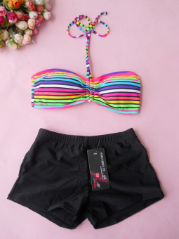 Sports v1664 female boxer split swimsuit swimming clothes (Striped bra + black boxer)