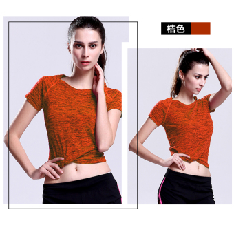 Sports versatile solid color fitness breathable Top T-shirt (Orange)