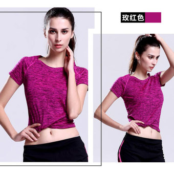 Sports versatile solid color fitness breathable Top T-shirt (Rose)