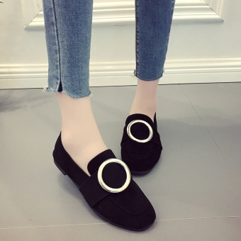 Spring and Autumn and autumn New style female shoes Korean-style small shoes (Black Matte)