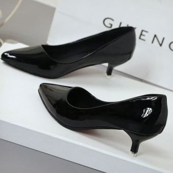 Spring and Autumn and autumn New style nude color pointed shoes (Black (4 CM))