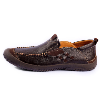 Spring and Autumn Fashion Leather shoes – Dark Brown - picture 2