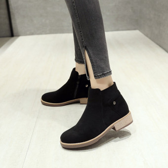 Spring and Autumn female New style matte Martin boots short boots (Black)