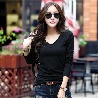 Spring and Autumn New style white long-sleeved t-shirt (Black)