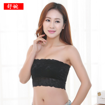 Spring and summer thin section no shoulder strap short paragraph wrapped chest (Black)