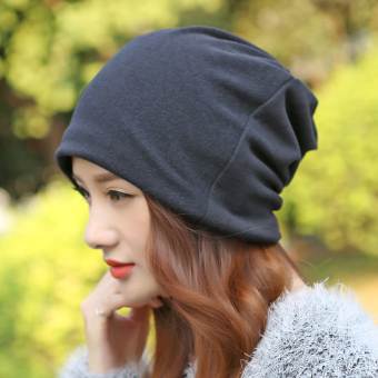 Spring and summer thin women's headscarf cap hat (Black)