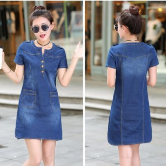 Spring and Summer Women's Republic of Korea Code Easy To Wear Thin Long Sleeved Short of  A-Line Skirt Thin Denim Dress - Dark Blue - intl
