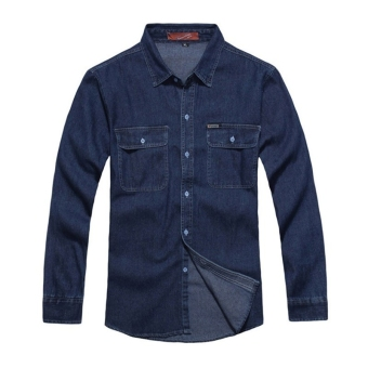 Spring Autumn Casual Denim Long Sleeve Shirts (Blue) - Intl