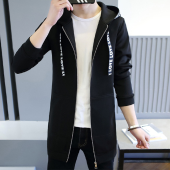 Spring New style casual hooded jacket (Black)