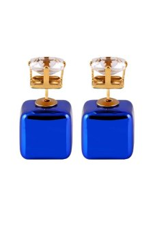 Square Plastic Big Acrylic Bead Crystal Stud Earrings (Blue) - picture 2