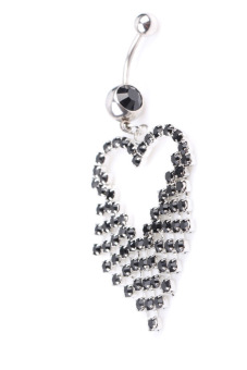 Steel Rhinestone Heart Tassel Dangle Navel - Black