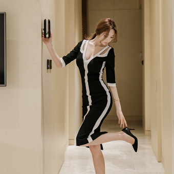 Stitching black and white New style Slim fit long dress