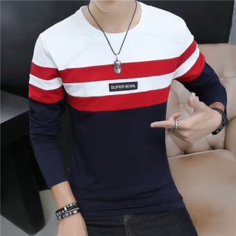 Stitching cotton striped Slim fit bottoming shirt T-shirt (On the white)