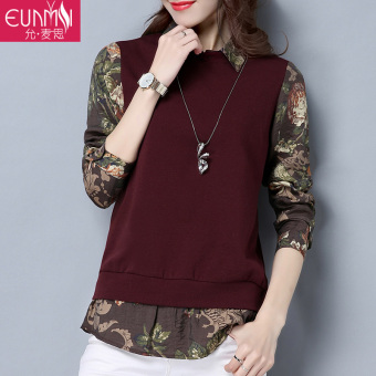 Stitching New style long-sleeved t-shirt Top (Red)