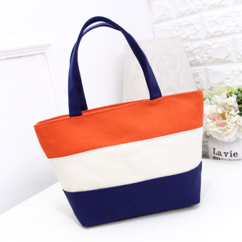 Stitching striped Women's environmentally friendly shoulder bag shopping bag (Orange) (Orange)