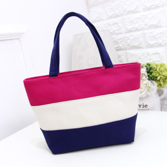 Stitching striped Women's environmentally friendly shoulder bag shopping bag (Rose color) (Rose color)