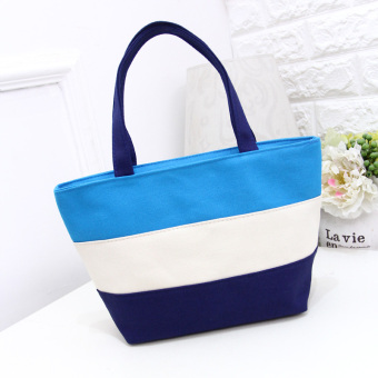 Stitching striped Women's environmentally friendly shoulder bag shopping bag (Sky blue color) (Sky blue color)