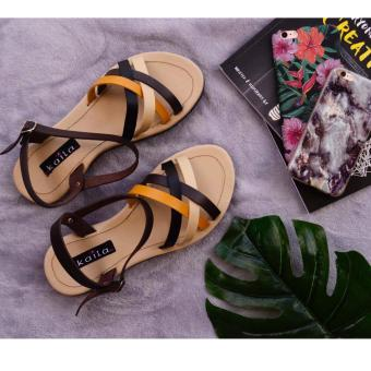 Straps 4 Band Ankle Strap Black, Beige, Brown and Yellow