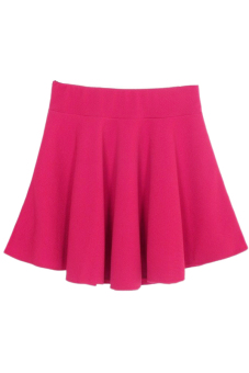 Stretch Waist Mini Skirt Rose Red