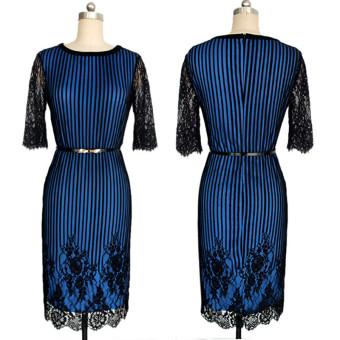 Striped Colorblock Women with elegant floral belt waist crochetlace pencil dress evening dress for work(Deep Blue) - 2