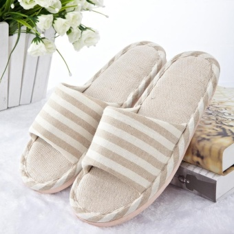 Striped Flax Four Seasons Indoor Slippers Linen Couple Anti-skidSoft Bottom Home Wooden Floor Cool Slippers Beige - intl