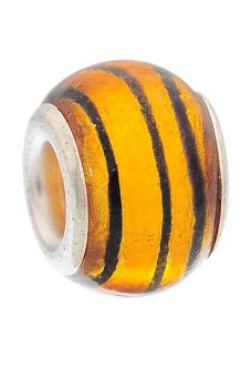 Striped Foil Glass Lampwork Bead Fits Charm Bracelet 14x10mm
