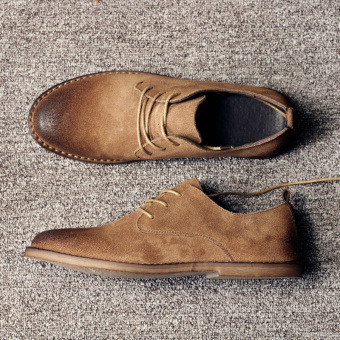 Style England suede leather casual shoes matte leather shoes Martin shoes (Camel)