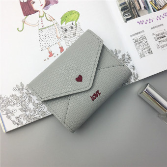 Stylish embroidered female Japanese and Korean style mini purse bag women's wallet (Gray)