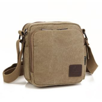 Stylish guy's casual New style canvas bag men's shoulder bag (Khaki)