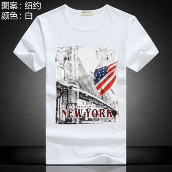 Stylish guy's cotton men's short sleeved t-shirt (New York White)