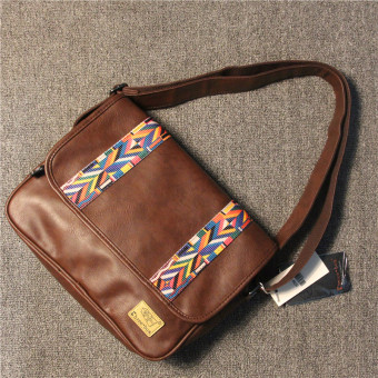 Stylish guy's Japan and South Korea New style shoulder bag (Deep Brown)