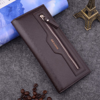 Stylish guy's Korean-style business zip student wallet men's long wallet (Deep coffee)