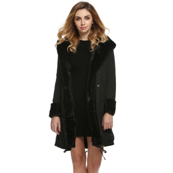 Stylish Ladies Women Lady Hooded Winter Warm Thick Faux Fur Coat Parka Long Outerwear Overcoat Jacket