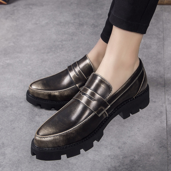Stylish men autumn new heavy-bottomed shoes Shoes (Gold [not increased])