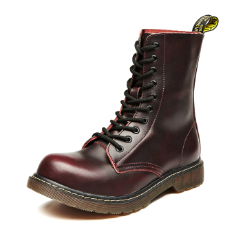 Stylish men leather boots Dr. Martens (Wine red color)