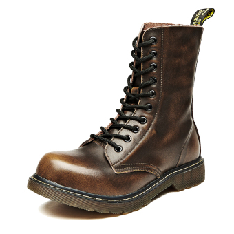 Stylish men leather boots Dr. Martens (Yellowish-Brown)