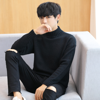 Stylish men long-sleeved Teenager T-shirt base shirt (Black)